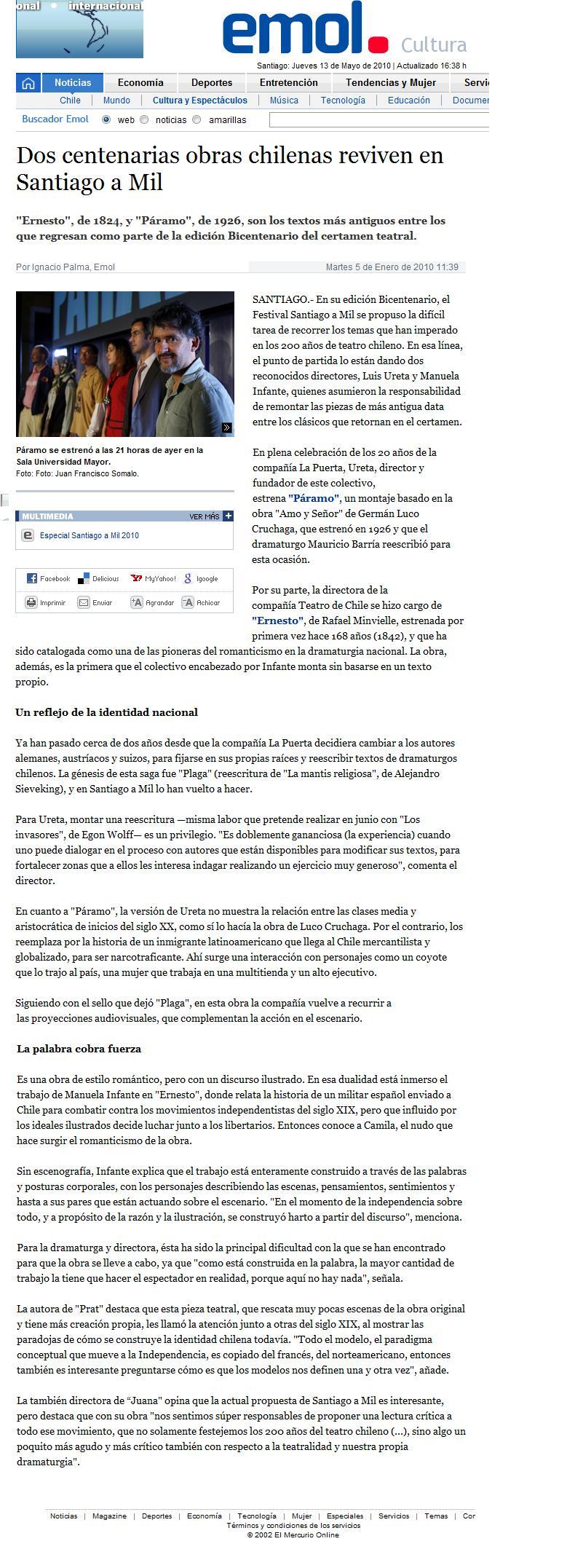 Emol.com. Cultura. 05.01.10