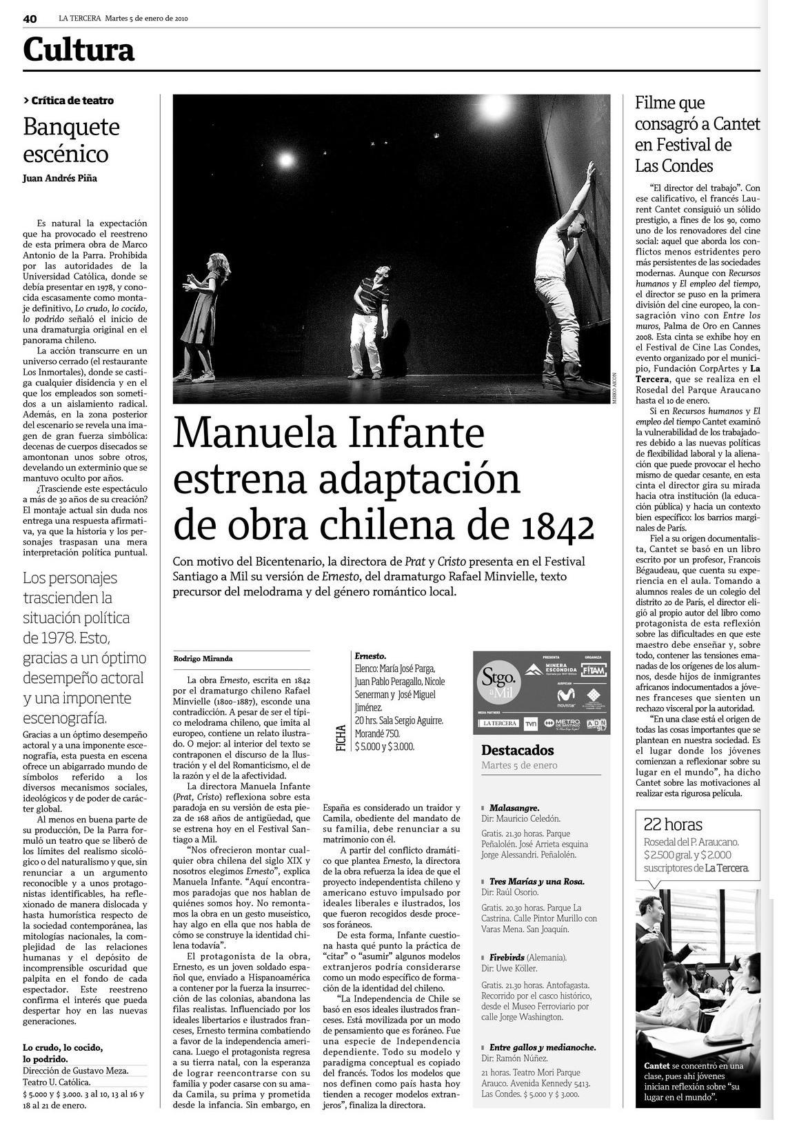 La Tercera. Cultura. 05.01.10. pg40